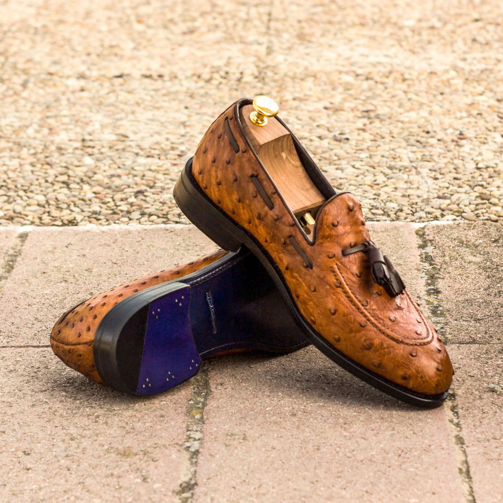 Loafer Cognac Struisvogel leer - Hoes Tailors